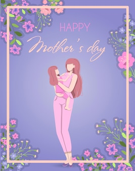 Card for the international mother s day vector illustration a woman holds a little girl in her arms
