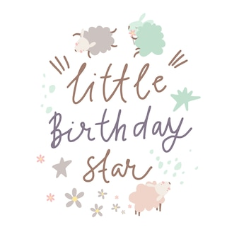 Card little birthday star