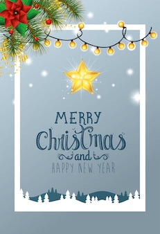 Card merry christmas with decoration in winter scene