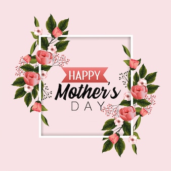 Card mothers day with nature flowers plants