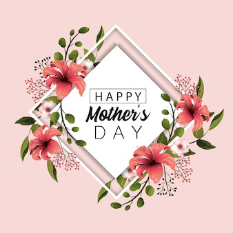 Card mothers day with nature flowers with branches leaves