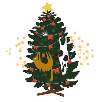 카드 새 해는 곧 재미있는 고양이와 크리스마스 트리 벡터 일러스트와 함께
