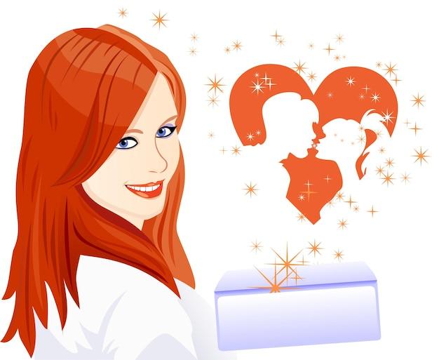 恋人の日のカードは、心から離れる封筒を持った女の子のシルエット...
