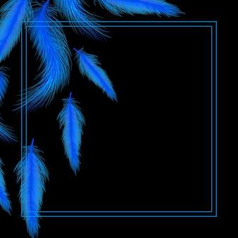Карточка или приглашение с синими перьями