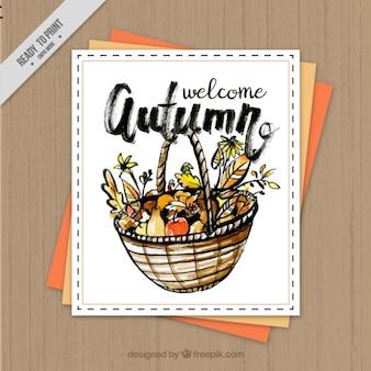 Карточка с акварель на осень