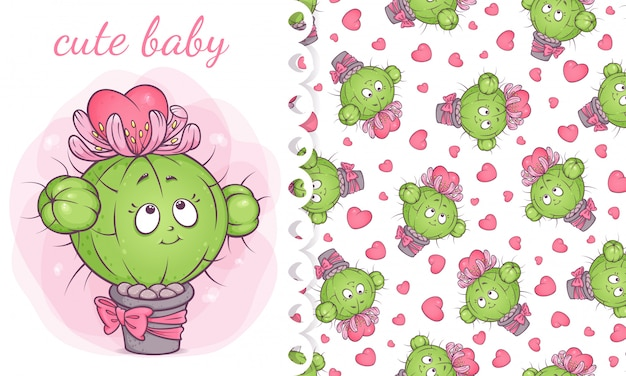Card and pattern with cute baby cactus in love.