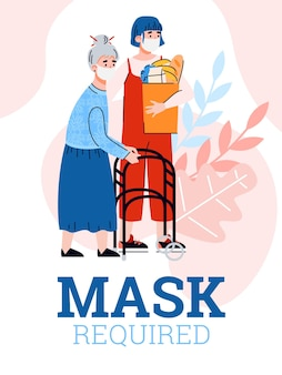 Card of required mask wearing rules at quarantine cartoon illustration