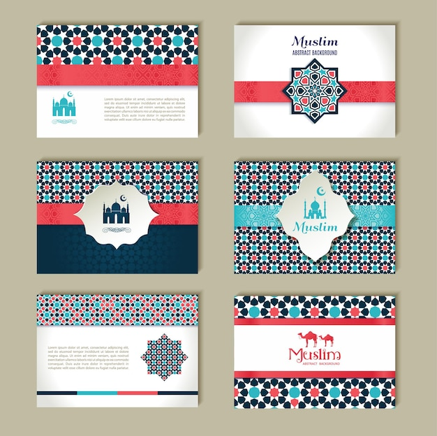 Card set of ethnic design religion abstract set