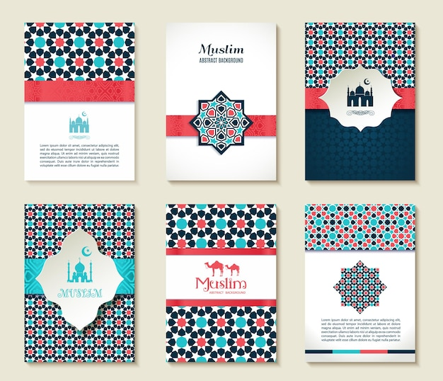 Card set of islamic template design card