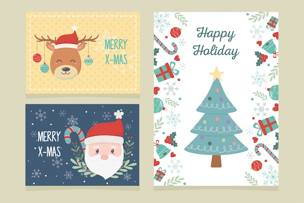 Card set of tree deer santa claus celebration happy christmas