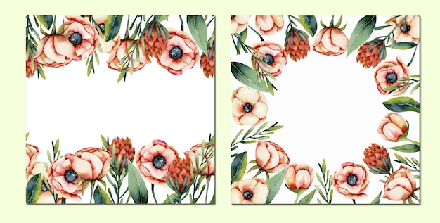 Card set of watercolor coral anemone and protea flowers borders, hand painted on a white background