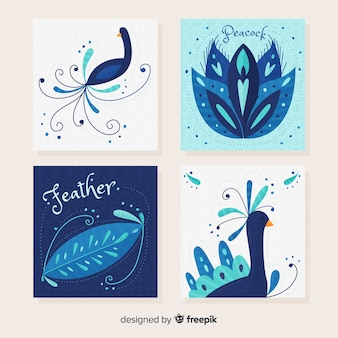 Card set with elegant peacock designs