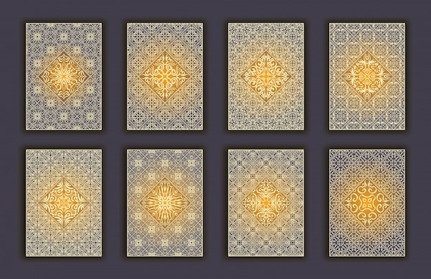 Card set with mosaic lace decorative elements background