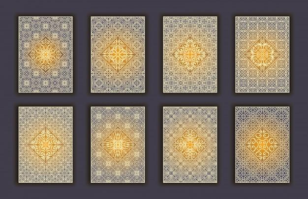 モザイクレースの装飾要素の背景とカードセット