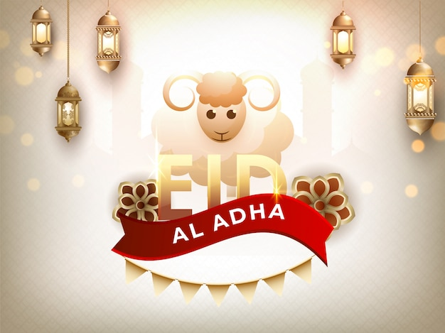 Card of sheep with calligraphy text eid al adha