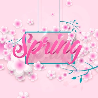 Card for spring season with frame and flowers promotion offer with spring flowers decoration