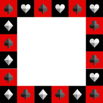 Card suit chess board red and black border