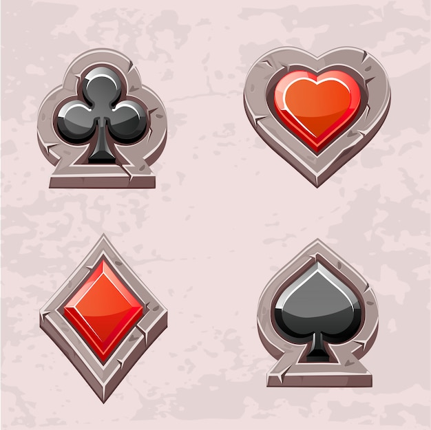 Card suit, poker icons stone texture