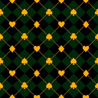 Card suits black green diamond background