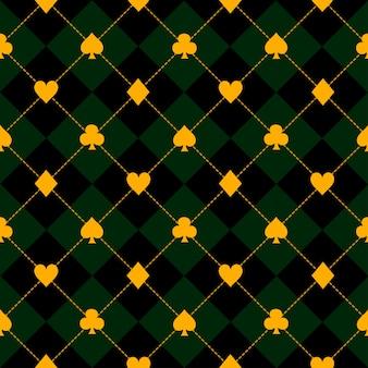 카드 한 벌 검은 녹색 다이아몬드 배경