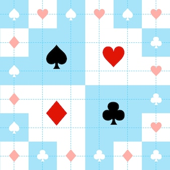 Card suits blue red white chess board background