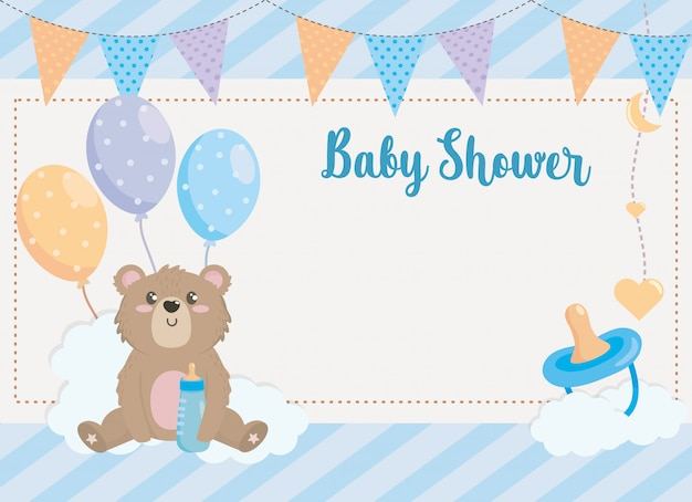 Card of teddy bear with party banner and pacifier
