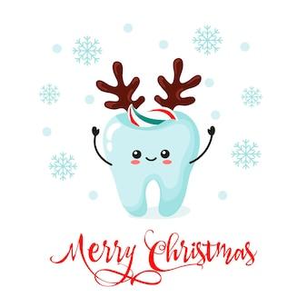 Card teeth kawai christmas. cartoon style