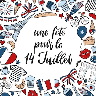Card and template for bastille day