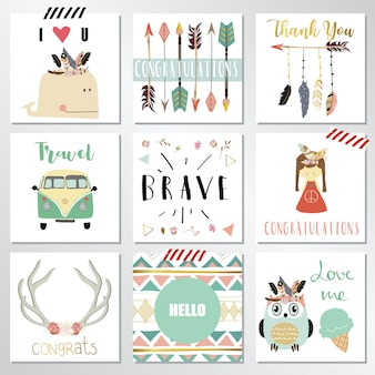 Card template collection with feather
