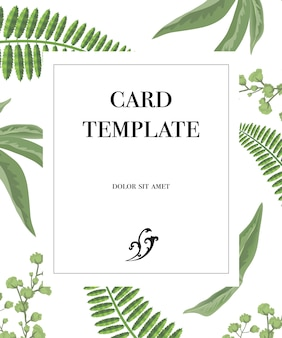 Card template design with frame and greenery pattern on white background.