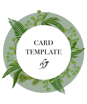 Card template design with greenery wreath on white background. party, event, celebration.