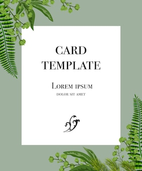 Card template design with white frame and greenery on gray background.