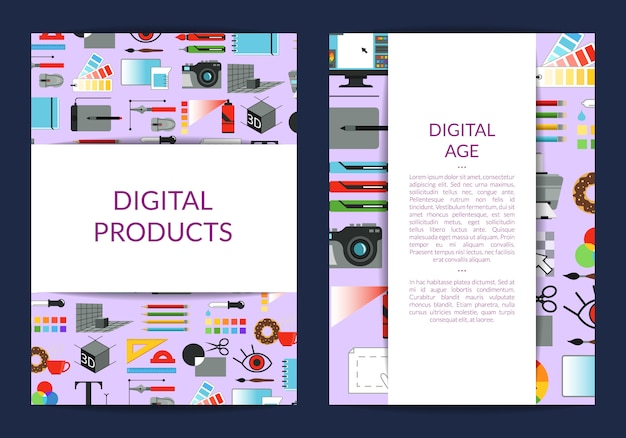 Card template for digital art design lessons or studio with ribbons with shadows