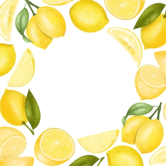 Card template of hand drawn lemons, illustration , round frame Premium Vector