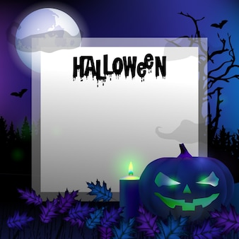 Card template spooky halloween background with pumpkins