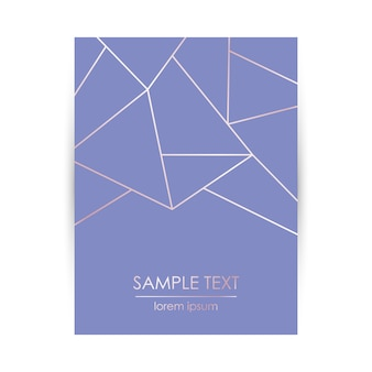 Card template with abstract rose gold geometric pattern.