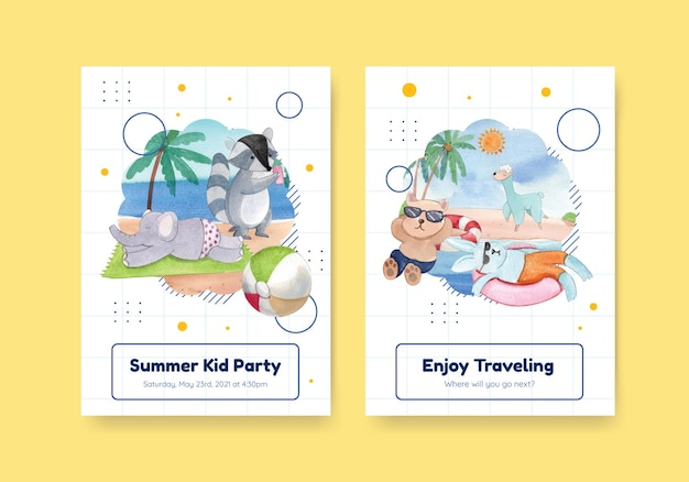 Card template with animals in summer in watercolor style