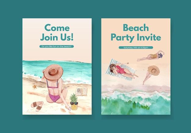 ビーチ休暇のコンセプトデザイン水彩イラストとカードテンプレート 無料ベクター