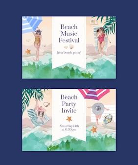 Шаблон карты с пляжным отдыхом концепция дизайна акварельной иллюстрацией
