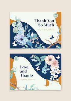 Modello di carta con concetto pacifico di fiori blu, stile acquerello