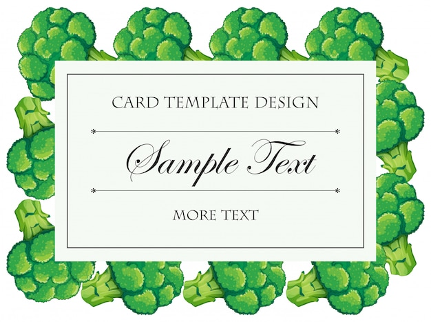 Card template with brocolli frame