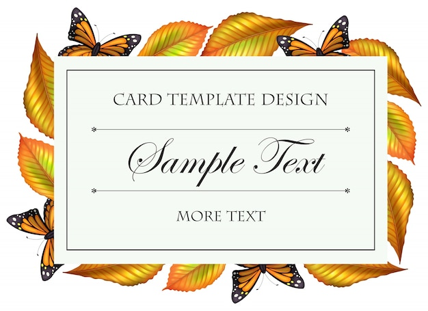 Card template with butterflies and yellow leaves