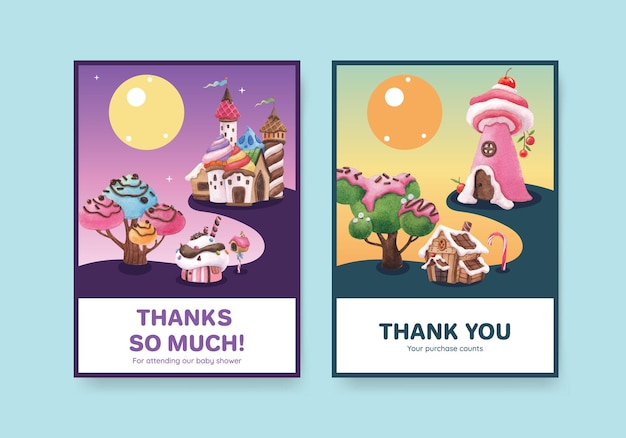Card template with candy land concept