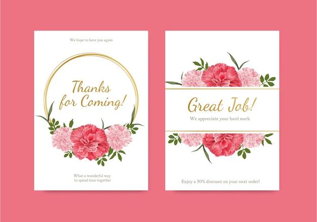 카네이션 꽃 개념, 수채화 스타일 카드 템플릿