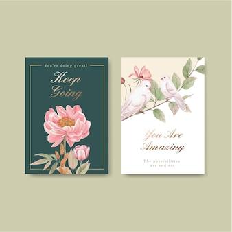 コテージコアの花のコンセプト、水彩スタイルのカードテンプレート