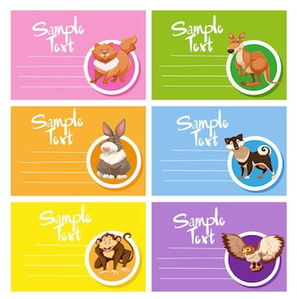 Card template with cute animals
