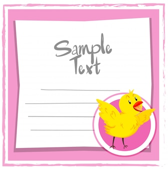 Card template with cute chick