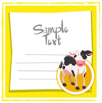 Card template with cute cow