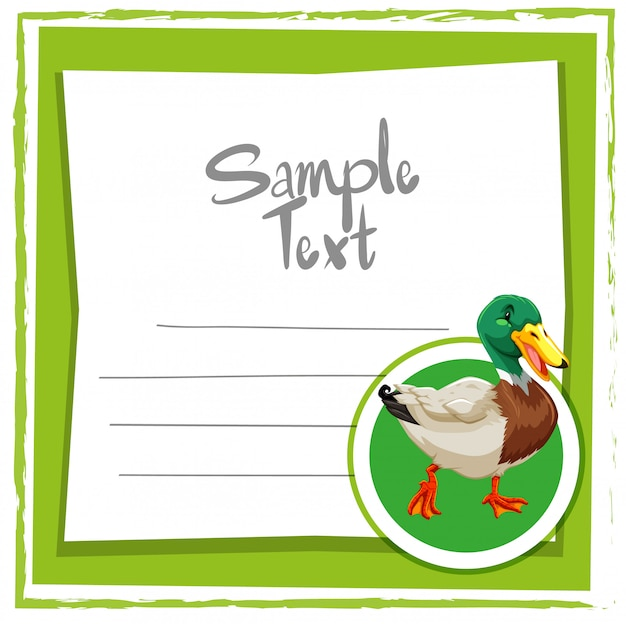 Card template with cute duck