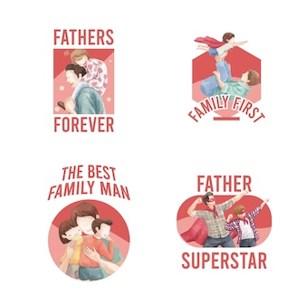 Card template with father's day concept,watercolor style